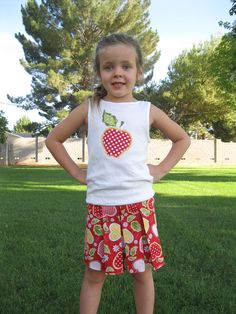 533938bdd5 SALE Siae 5 Only - Toddler or Girls Sassy Pleated Skirt Riley Blake Apple  of my