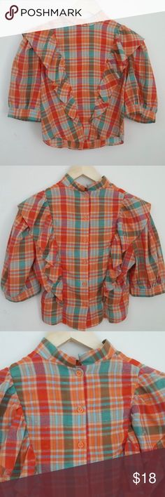 """Vintage Plaid Crop Mock Neck Sooo cute ! Wish it was my size...  Marked as a size large, but fits much smaller than that. Please refer to measurements ! Armpit to armpit 19"""" Length 19""""  #vintage #sizesmall #sizelarge #large #small #rachelboncek Vintage Tops Crop Tops"""