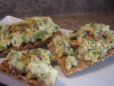 Chopped avocado,some onion,raw pepitas and sunflower seeds with some herbs & spices and vegan mayo on ryvitas for brekkie! Simple and filling. Make a batch and store in the fridge for lunch!