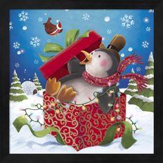 DBK-Art Licensing 'Penguin Holiday Surprise Gift' Framed Art