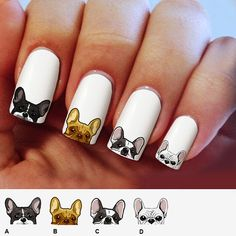 Beautiful your manicure with waterslide nail decals, thin and very easy to apply… – Nail Art New Nail Art Design, Creative Nail Designs, Creative Nails, Nail Art Designs, Dog Nail Art, Dog Nails, French Nails, Animal Nail Designs, French Nail Designs