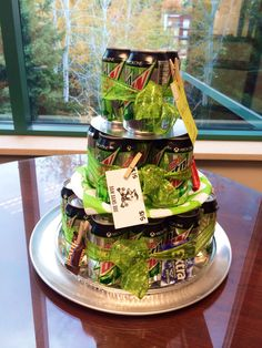Mountain Dew birthday cake for the Mr! My husbands co workers made this for him. Thought I would share! Men are hard to buy gifts for!!