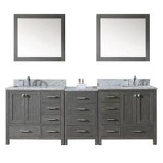 Virtu USA, Caroline Avenue 90 in. Double Square Basins Vanity in Zebra Grey with Marble Vanity Top in White and Mirror, KD-60090-WMSQ-ZG at The Home Depot - Mobile
