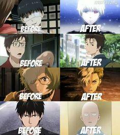 Before After anime characters ||Tokyo Ghoul || Parasit / Kisejuu || Kotetsujou no Kabaneri || One Punch Man || Otaku meme