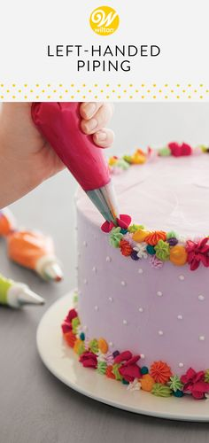 Are you left-handed? Here are some tips and tricks for left-handed cake decorators to ensure your cakes come out just as beautifully as you want them to! #wiltoncakes #buttercream #basics #cakedecorating #howto #cakes #cakedecorating #cakeideas #lefty #piping #pipingtips