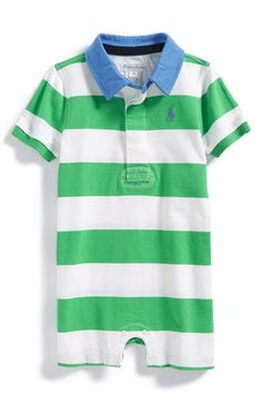Ralph+Lauren+Rugby+Stripe+Polo+Romper+(Baby+Boys)+available+at+#Nordstrom