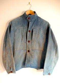 Unusual French sanforized denim chore coat, circa 1950s.