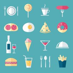 Food Icons by Oksana Lubianova, via Behance