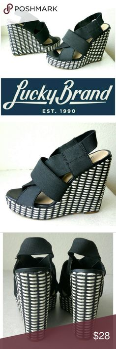 """☆Lucky Brand Black and white wedges These gorgeously classic Lucky Brand wedges are perfect for spicing up any outfit! Black stretchy straps elegantly decorate top of shoe, adhere to foot for maximum comfort & security. Black and white thatched wedge design, 1"""" platform with additional 4"""" wedge heel. Dress up or down with skinny jeans, skirts, tees, blazers...the possibilities are endless! In like NEW CONDITION, NO DAMAGES. Sold out online. Make a a statement in these a shoes next time you…"""