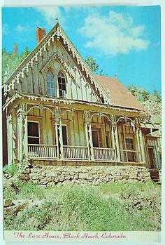 The-Lace-House-Black-Hawk-Colorado-Vintage-Post-Card-Divided-Picture-Card-895 Black Hawk Colorado, Central City Colorado, Picture Cards, Post Card, Black House, Vintage Postcards, Places To Visit, Colorful, Mansions