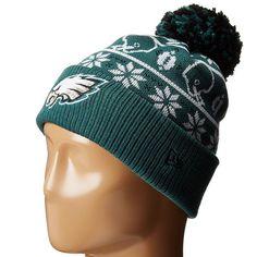 Mens   Womens Philadelphia Eagles New Era NFL Sweater Chill On-Field Sports  Rib Knit Pom Pom Beanie Hat - Green 13be26cecceb