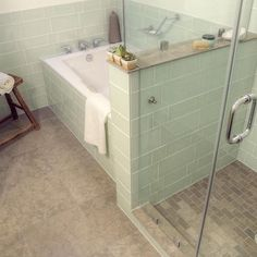 soaking tub + shower ---not done exactly like this with the tile, but probably a vision of what the placement would look like in a typical home.  SOAKING TUB = MUST HAVE.