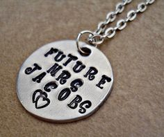 Future Mrs  Bride's Hand Stamped Pendant and by TJsTreasureChest, $12.00