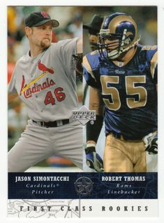 Jason Simontacchi / Robert Thomas # 292 - 2002-03 Upper Deck Superstars Multi Sports Card - NFL Football / MLB Baseball