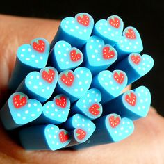 Heart Polymer Clay Cane w/ Strawberry Blue by MiniatureSweet, $0.99