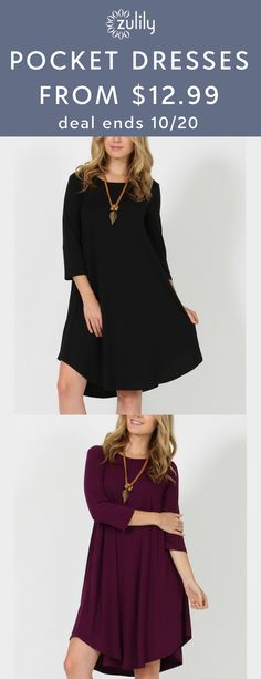 Sign up to shop 42POPS two-pocket dresses, from $12.99 Enliven your wardrobe with this tunic dress that features pockets, trend-right three-quarter sleeves and a free-flowing silhouette. Deal ends 10/20.