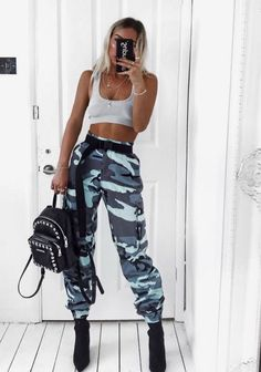 Get this KILLA look Girl's in our Vivi Blue Camo Printed Cargo Trousers. Featuring cargo style fit , pockets and camo printed finish. Style with a cute crop top and some barely there heel's. Teen Fashion Outfits, Mode Outfits, Look Fashion, Trendy Outfits, Summer Outfits, Girl Outfits, Womens Fashion, Fashion Black, Cute Camo Outfits