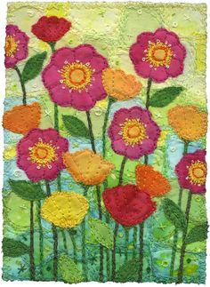 Garden 4 by Kirsten Chursinoff (Vancouver, Canada).  Fiber art with extensive embroidery.