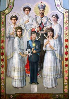 The family of Tzar Nicolas II were exterminated on July 17 1918 by order of the Bolshevik communists. In the year 2000 all family members of the former Tsar were canonized as 'passion bearers' and martyrs by the Holy Russian Orthodox Church. Anastasia Romanov, La Familia Romanov, Czar Nicolau Ii, Tsar Nicolas, Romanov Sisters, House Of Romanov, Russian Literature, Russian Orthodox, Royals