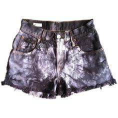 Vintage, cutoff, shredded,  destroyed,  grunge, omen eye, short, shorts, studded, distressed, denim, high waisted, cut off, tie dye