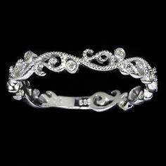 Art Deco Style Diamond Wedding Band 14K White by IvyandRoseVintage