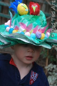 easy easter bonnets from painted newspaper & masking tape & decorated with tissue paper flowers or scrunched newspaper & tissue paper eggs