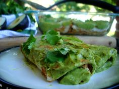 avocado enchiladas - made with brisket (yum!). The tortillas are tricky