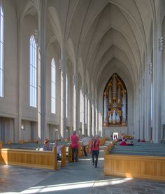 Nave of Hallgrimskirkja Lutheran Cathedral Reykjavik.