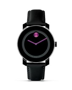 Movado Bold Medium Black Watch With Blue Dot. Movado is always a must Cool Watches, Watches For Men, Esq Watches, Fine Watches, Luxury Watches, Gadgets, Unisex, Stainless Steel Case, Swagg