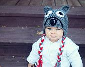 Grey Wolf Beanie by KraftyShack on Etsy, $22.99 USD