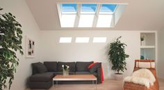 Skylights conveniently placed on a large ceiling will obviously bring added light, but they can also make the space appear bigger and more inviting. VELUX skylights come in a variety of sizes to fit any application or room.