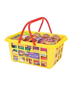 This sweet kid-size shopping basket is perfect for toting treats around. Filled with an assortment of cartons and tins of food, this set helps little ones learn the value of coupons in no time!