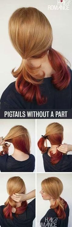 Pigtails without a part in your hair // Easy Hairdo
