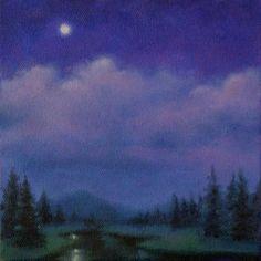 """SONATA Adirondack night landscape oil painting"" - Original Fine Art for Sale - © Barbara Fox"