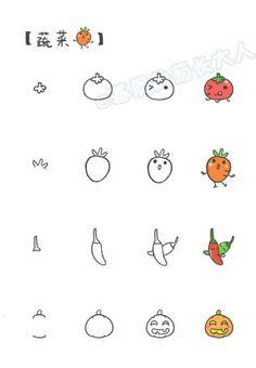 Cartoon Drawing Tips - Drawing On Demand how to draw kawaii veggies Cute Easy Drawings, Small Drawings, Kawaii Drawings, Doodle Drawings, Cartoon Drawings, Doodle Art, Kawaii Doodles, Cute Doodles, Kawaii Art