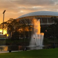 River Torrens and the Adelaide Oval Adelaide Sa, Adelaide South Australia, Capital City, New Zealand, Beautiful Homes, Fountain, Naked, Waterfall, Moon