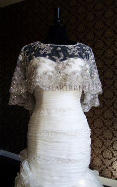 Modern Bride Platinum Caplet Beaded Lace Super Beautiful & Intricate! by IheartBride