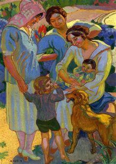 "Maurice Denis (French Nabi Painter, 1870-1943)  ""Around a Child with Dog"", 1919"