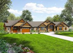 Plan 23609JD: One Story Mountain Ranch Home