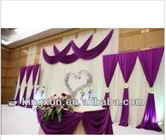 Hot Sale Wedding Backdrop white and purpel Color $90~$190