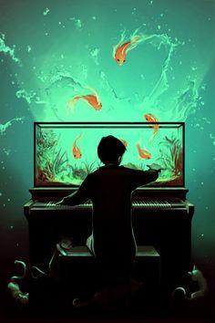 Le Pianoquarium illustration by Cyril Rolando Art And Illustration, Fantasy Kunst, Fantasy Art, Cyril Rolando, Yuumei Art, Chiaroscuro, Art Design, Graphic Design, Amazing Art