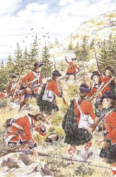 """British assault on Signal Hill, St. John's, Newfoundland, September 1762 - """"Soldiers of the 1st Regiment of Foot (Royal Scots) and 77th Regiment of Foot (Montgomery's Highlanders) mount their assault on Signal Hill in St. John's, Newfoundland, in September 1762. This action led to the recapture of the settlement after its capture by the French for a fourth and final time in June 1762."""""""