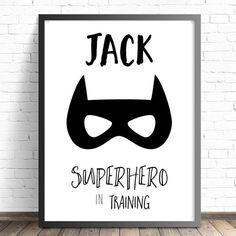 Batman Superhero Personalised Superhero in Training Name Print. Baby, Boys Batman Nursery