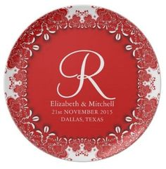 Red Vintage Decor Lace Monogram Wedding customizable Gift Plate
