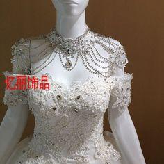 Barato Frete grátis noiva de noiva Bridemaid estilo europeu handmade jóias de casamento alça de ombro rendas, Compro Qualidade Torques diretamente de fornecedores da China: