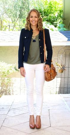 Navy Jacket, Olive Tee, White Jeans,