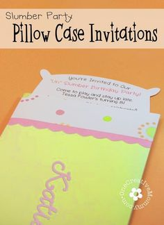 Free Pillow Case Slumber Party Invitations Template