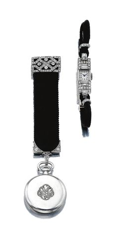 LADY'S DIAMOND COCKTAIL WATCH & A WATCH FOB, BOUCHERON, CIRCA 1920.  Comprising: a lady's diamond cocktail watch, applied with Arabic numerals & blued steel hands, the case set with baguette, step- & single-cut diamonds, length approximately 140mm, French assay marks, clasp numbered, & a lady's fob watch, applied with Arabic numerals, the case with a diamond set monogram EM, the silk ribbon applied with millegrain-set circular-, single- & rose-cut diamonds, case signed Boucheron