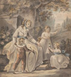 Paul Sandby, 1731-1809, British, A Nurse with Three Children, ca. 1800, Watercolor on medium, cream, slightly textured wove paper, Yale Center for British Art, Paul Mellon Collection
