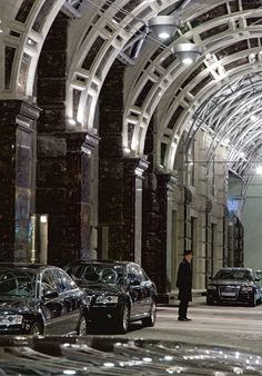 Porte Cochere is a modern structure of glass, steel and granite, Ritz Carlton in Moscow